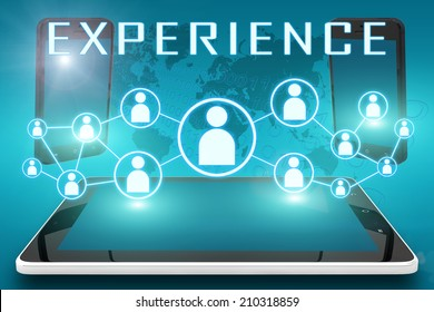 Experience - text illustration with social icons and tablet computer and mobile cellphones on cyan digital world map background