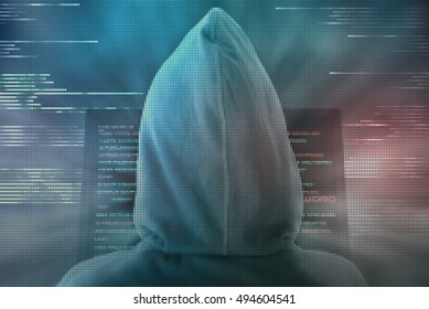 Expert hacker makes your computer safe from criminal cyber-attacks, using a green pixelated firewall
