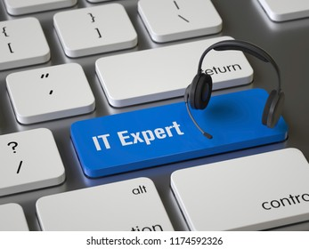 IT Expert key on the keyboard, 3d rendering,conceptual image