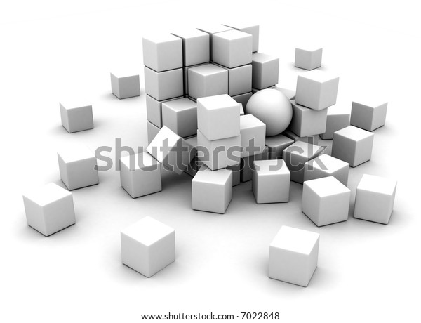 Exploded lots of white blocks on white background
