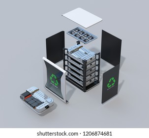Exploded view of reused electric vehicle batteries component system with EV battery package cutaway view. EV batteries recycle concept. 3D rendering image.