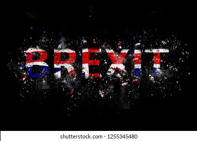 Exploding Brexit Text in Union Jack colours