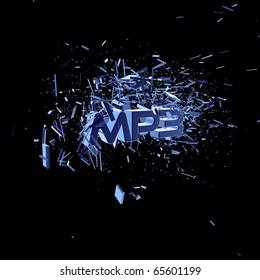 exploding letters mp3 on black background - 3d illustration