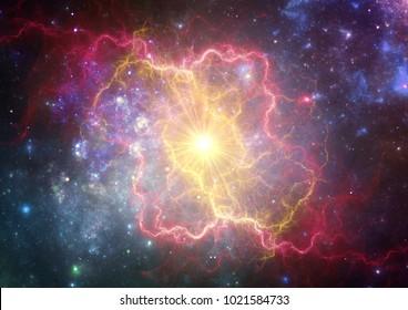 Exploding supernova forming  a new nebula.