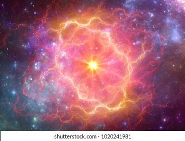 Explodierende Supernova im Weltraum, Bildung von Nebel