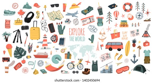 Explore the world. Hand drawn travel set. Summer vacation time doodle icons collection. Pins or stamps, prints or logos
