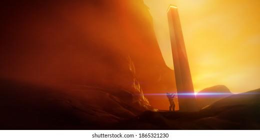 explorer at monolith, science fiction 3D illustration