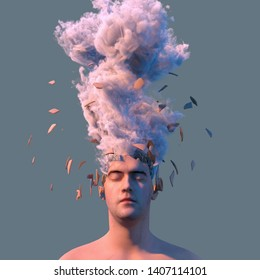 explosion of artificial head with metal wire inside, 3d illustration