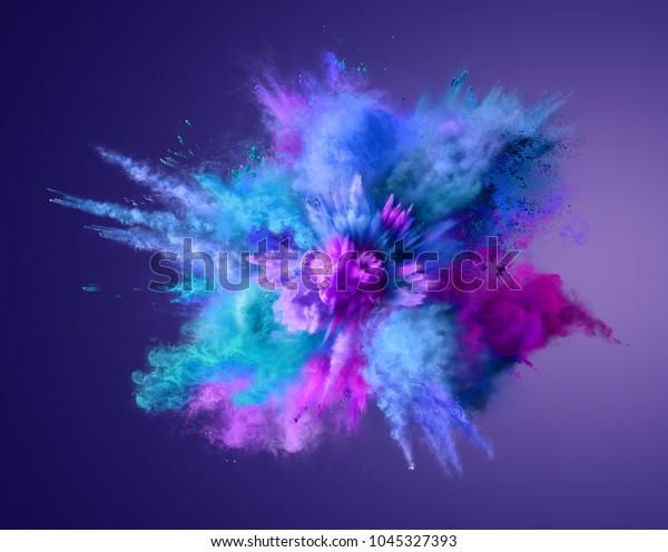 Explosion of blue, aqua and violet dust. Freeze motion of color powder exploding. Illustration