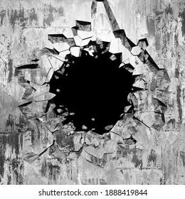 Explosion broken concrete wall bullet hole destruction. Dark cracked hole in wall. Grunge background. 3d render illustration