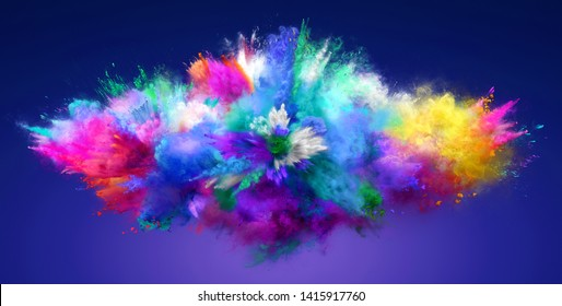 Explosion of cloudy colorful powder. Freeze motion of color powder exploding. 3D Illustration