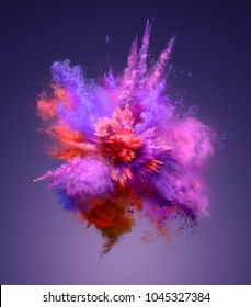 Explosion of colorful dust. Freeze motion of color powder exploding. Illustration