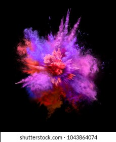Explosion of colorful dust on black background. Illustration