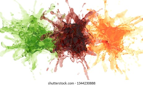explosion of colorful liquids. 3d rendering