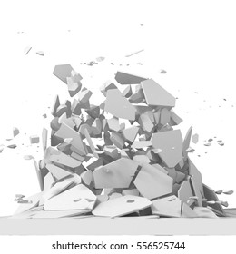 Explosion destruction with many chaotic fragments. Abstract destruction background. 3d render illustration