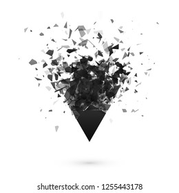 Explosion effect. Shatter dark triangle. Abstract cloud of pieces after explosion. illustration isolated on transparent background