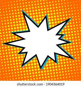 Explosion flash in pop art style. Template with blank space. Cartoon illustration on an orange background.
