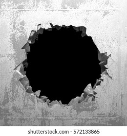 Explosion hole in concrete cracked wall. Industrial background. 3d render illustration