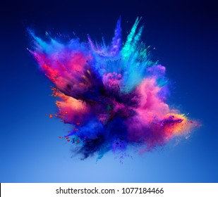 Explosion of pink and blue powder. Freeze motion of color powder exploding. 3D illustration