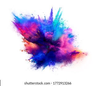 Explosion of pink and blue powder on white background. Freeze motion of color powder exploding. 3D illustration