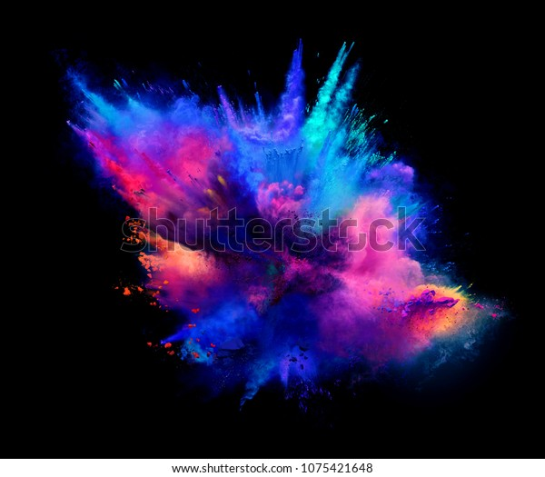 Explosion of pink and blue powder on black background. Illustration