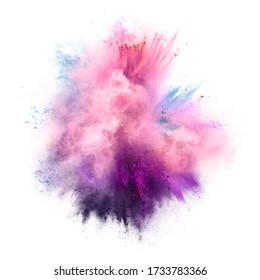 Explosion of pink, violet and blue powder. Freeze motion of color powder exploding. 3d Illustration
