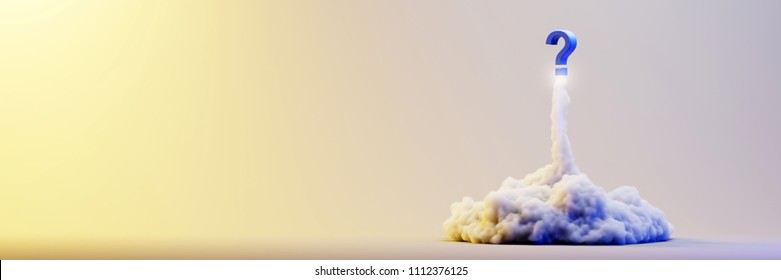 Explosion simulation with question mark, original 3d rendering illustration