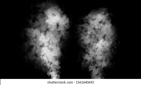 Explosion smoke on isolated black background. Abstract texture overlyas.
