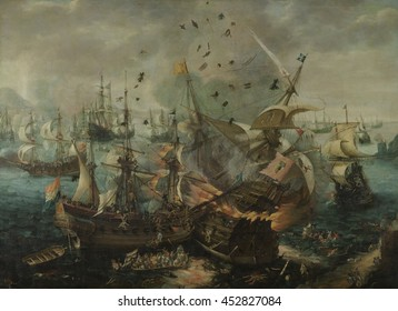 The Explosion of the Spanish Flagship during the Battle of Gibraltar, by Cornelis Van Wieringen, 1621, Dutch painting, oil on canvas. On April 25, 1607. Dutch ships took the Spanish fleet by surprise
