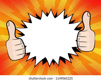 Explosion steam bubble and hands ok pop art funny funky banner retro comics background