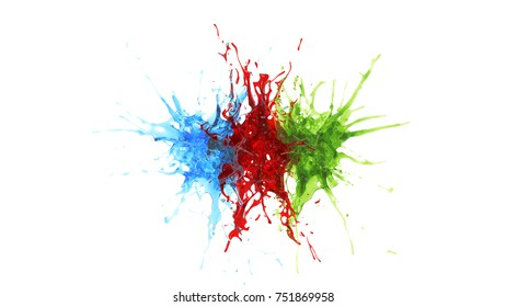 explosion of three drops of blue, red and green liquid. 3d rendering