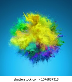 Explosion of yellow, green and blue powder. Freeze motion of color powder exploding. 3D illustration