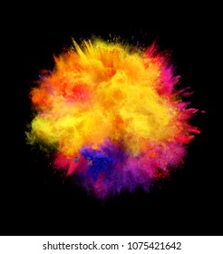 Explosion of yellow, red and blue powder on black background. Illustration