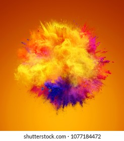 Explosion of yellow, red and blue powder. Freeze motion of color powder exploding. 3D illustration