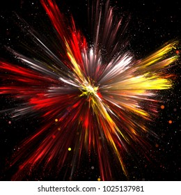 Explosion of yellow, red and white powder with depth of field. 3d illustration
