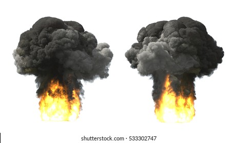 Explosions on white mushroom cloud 3d illustration