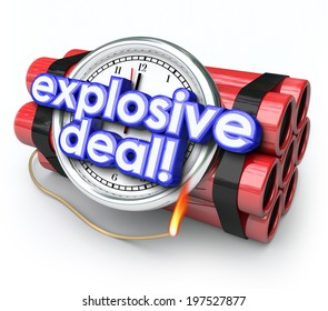 Explosive Deals ticking time bomb with clock and dynamite shopping at a special sale