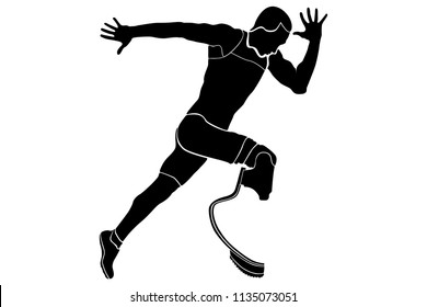 explosive runner athlete disabled amputee black silhouette