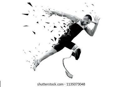 explosive start athlete runner disabled amputee from triangles