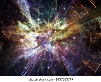 Exponential Technology. Bright math-generated abstract radial elements to illustrate concept of rapid expansion on the subject of science, education and technology.