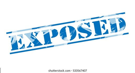 exposed blue stamp on white background