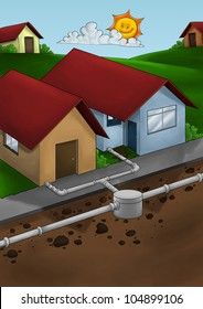 exposed drain system to houses in a small city ou neighborhood