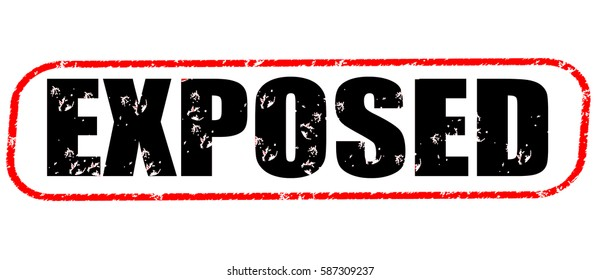exposed red and black stamp on white background.