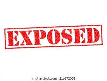 EXPOSED red Rubber Stamp over a white background.
