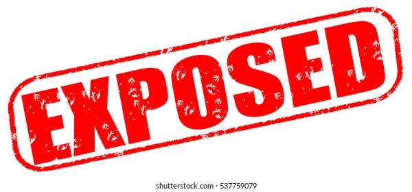 exposed red stamp on white background