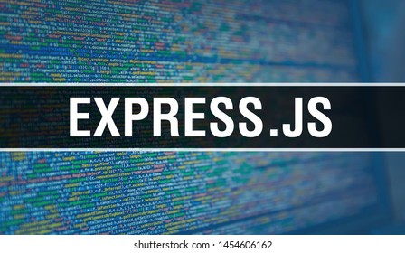 EXPRESS.JS with Binary code digital technology background. Abstract background with program code and EXPRESS.JS. Programming and coding technology background. EXPRESS.JS with Program listing