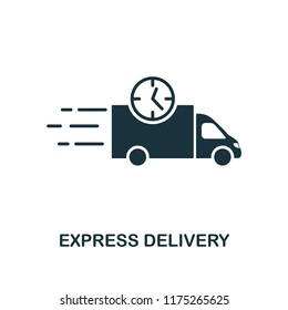 Express Delivery icon. Monochrome style design from logistics delivery collection. UI. Pixel perfect simple pictogram express delivery icon. Web design, apps, software, print usage.