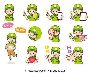 express home delivery woman variation. Beginner mark, smartphone, tablet, magnifying glass, credit card, heart, ok, no.