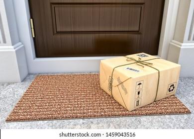 Express-Paketzustelldienst-Konzept, Paketbox in Handpapier auf der Türmatte neben der Eingangstür verpackt, 3D-Abbildung