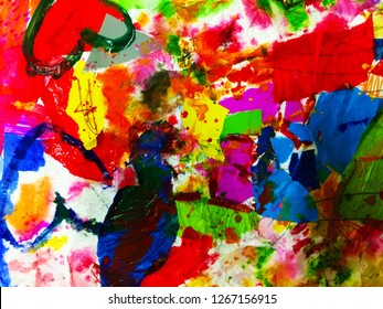 expressionism art of mixed media painting with colorful, funny element composition, brush stroke and free form shape that express the enjoy and fun feeling